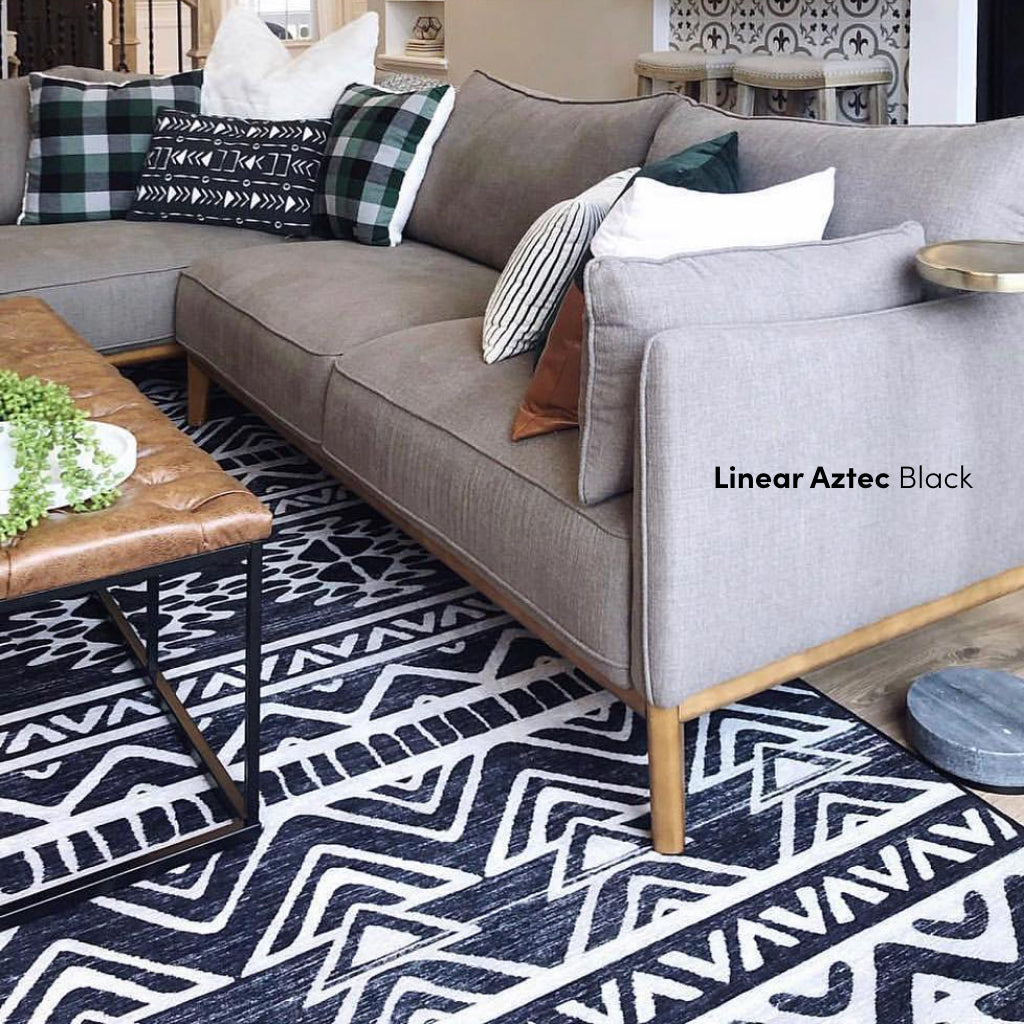 Linear Aztec Black and White Rug in Living Room