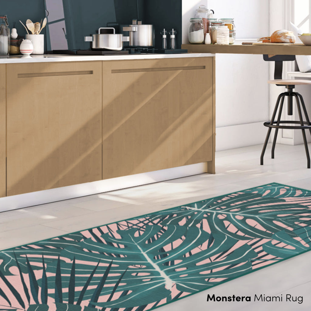 Monstera Pink and Green Rug