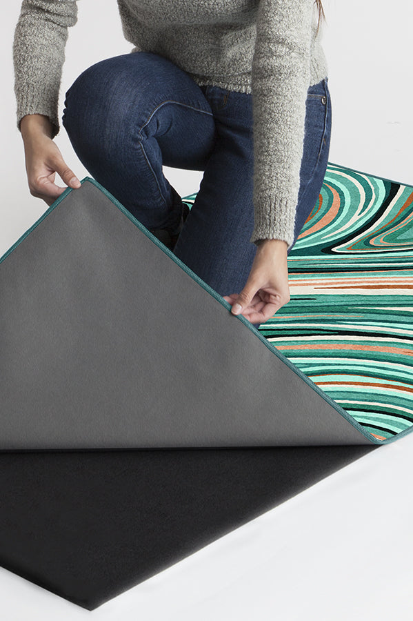 Machine Washable 8'x10' Agate Turquoise Rug