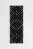 Machine Washable 2.5'x7' Amalia Black Rug Rug