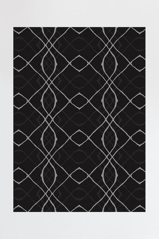 Diamond Trellis Black Rug