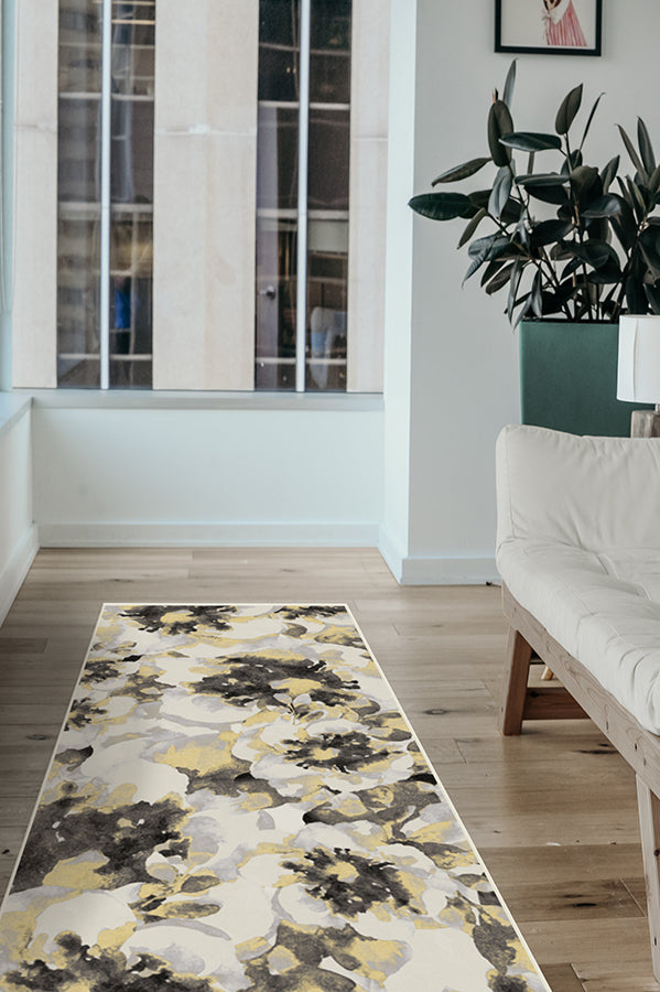 Machine Washable 2.5'x7' Buttercup Yellow Rug
