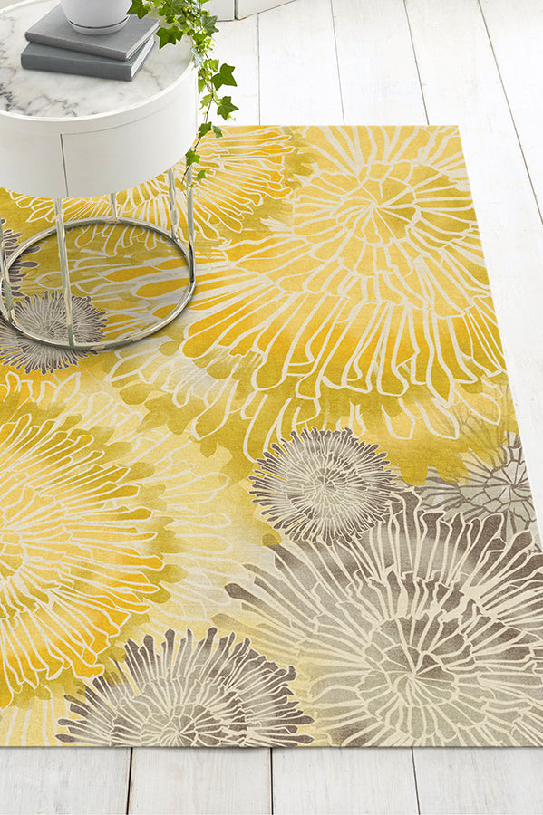 Machine Washable 5'x7' Chrysanthemum Yellow Rug