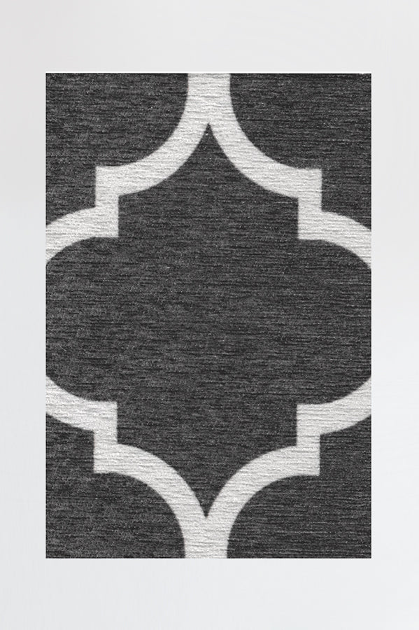 Machine Washable 2.5'x7' Contemporary Trellis Dark Grey Rug