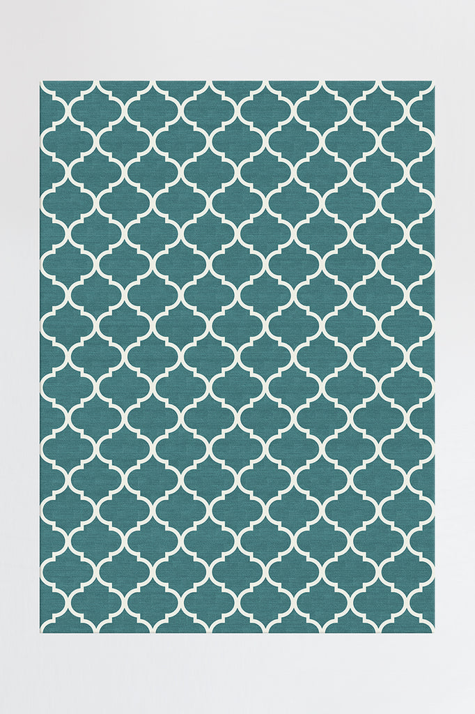 Machine Washable 5'x7' Contemporary Trellis Teal Blue Rug