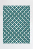 Machine Washable 5'x7' Contemporary Trellis Teal Blue Rug Rug