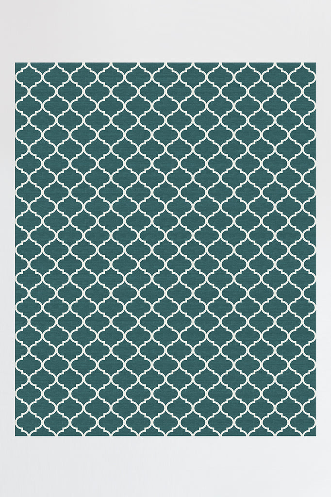 Machine Washable 8'x10' Contemporary Trellis Teal Blue Rug