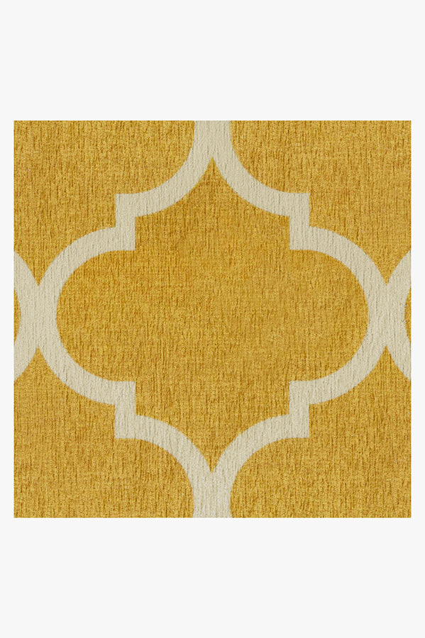 Machine Washable 2.5'x7' Contemporary Trellis Yellow Rug