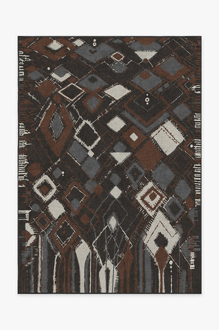 Diamond Shibori Charcoal Rug