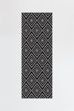 Machine Washable 2.5'x7' Diamond Black Rug Rug