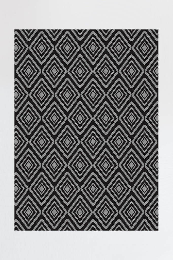 Machine Washable 5'x7' Diamond Black Rug