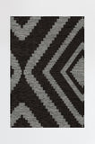 Machine Washable 5'x7' Diamond Black Rug Rug