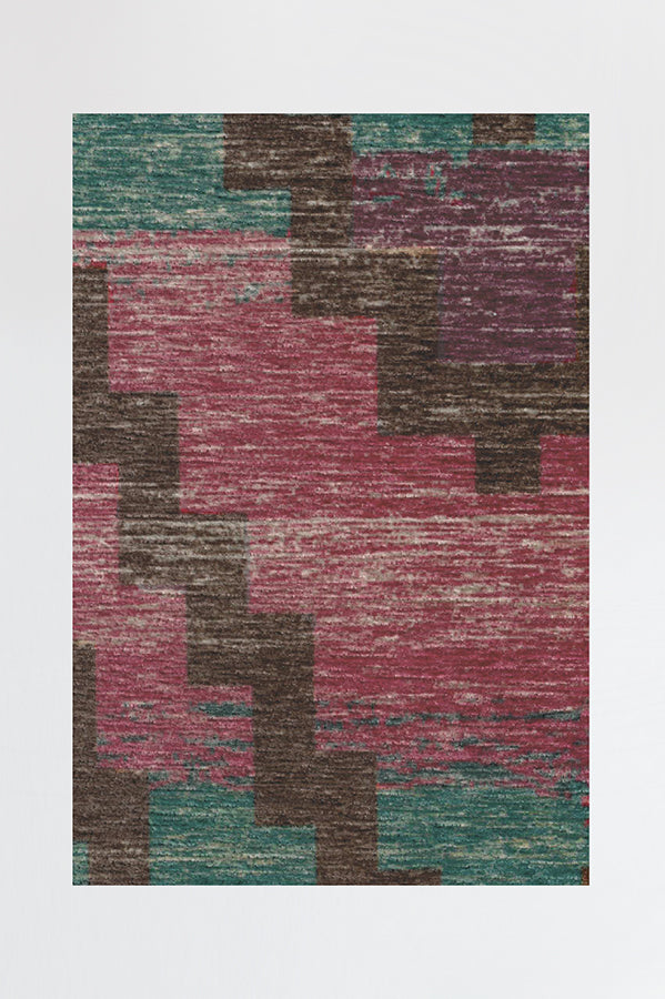 Machine Washable 2.5'x7' Diamond Trellis Multicolor Rug