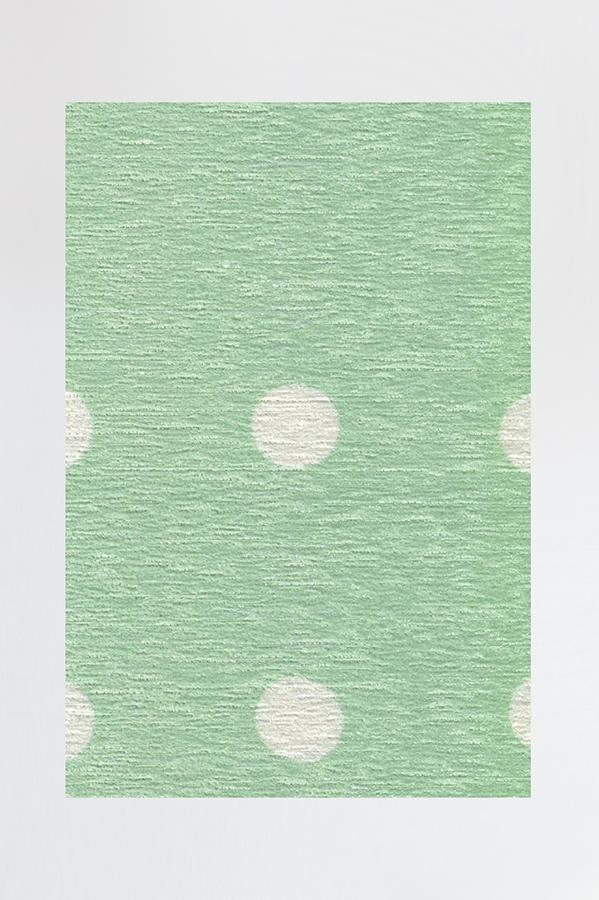 Machine Washable 2.5'x7' Dot Border Mint Rug