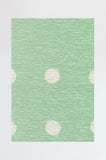 Machine Washable 2.5'x7' Dot Border Mint Rug Rug