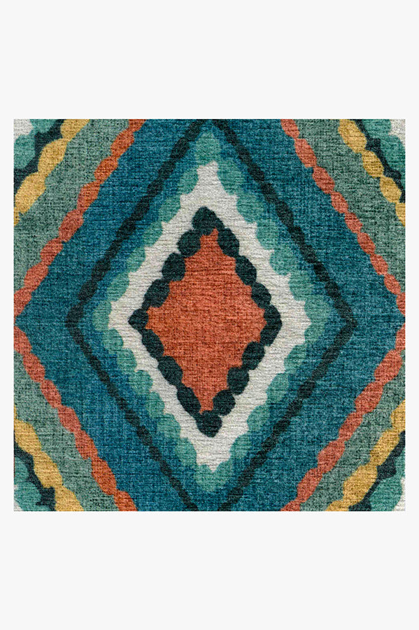 Machine Washable 2.5'x7' Esra Teal Rug