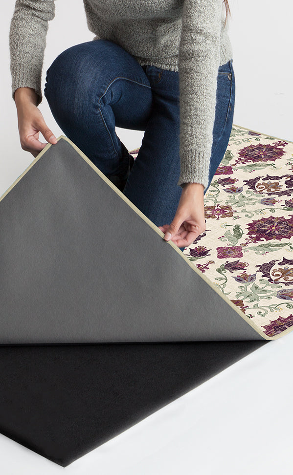 Machine Washable 5'x7' Floral Damask Mimi Purple Rug