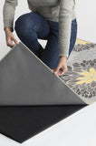 Machine Washable 2.5'x7' Floral Medallion Yellow Grey Rug Rug