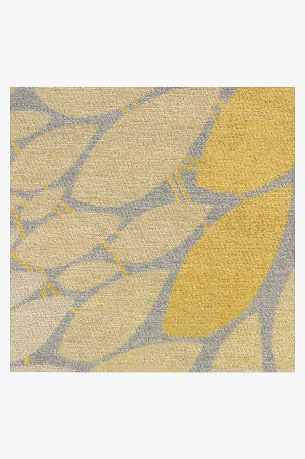 Machine Washable 3'x5' Floral Medallion Yellow Grey Rug