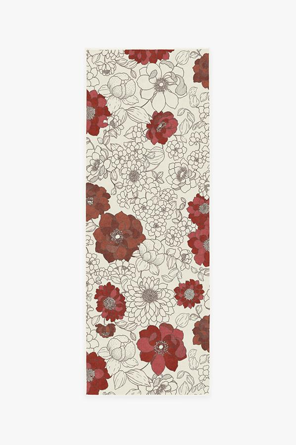 Machine Washable 2.5'x7' Floret Ruby Rug
