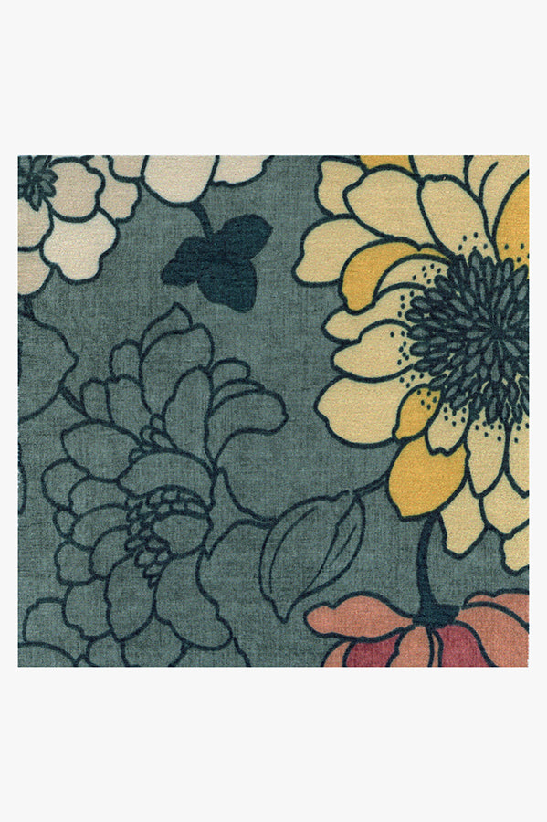 Machine Washable 2.5'x7' Floret Teal Blue Rug