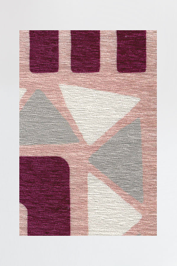 Machine Washable 2.5'x7' Fun Shapes Pink Rug