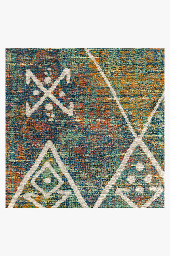 Machine Washable 2.5'x7' Kavi Diamond Polychrome Rug