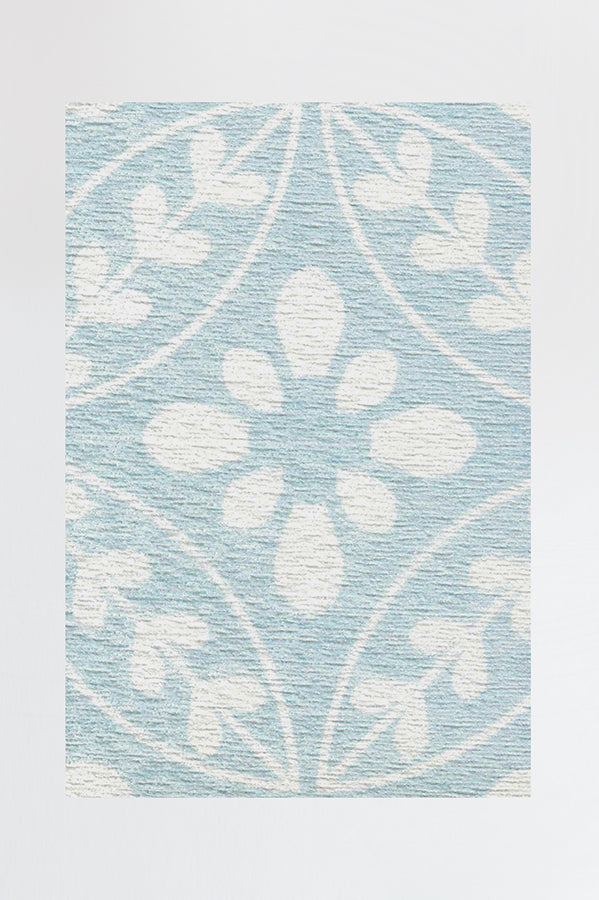 Machine Washable 2.5'x7' Lily Sky Blue Rug