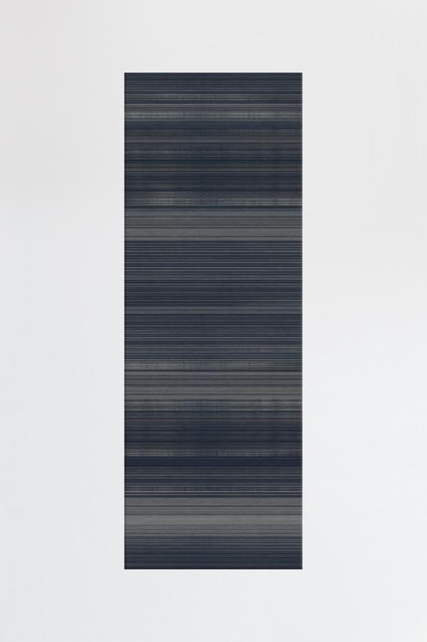 Machine Washable 2.5'x7' Linear Striped Navy Rug