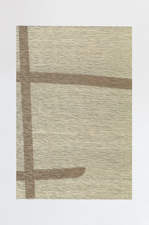 Machine Washable 5'x7' Lines Natural Rug