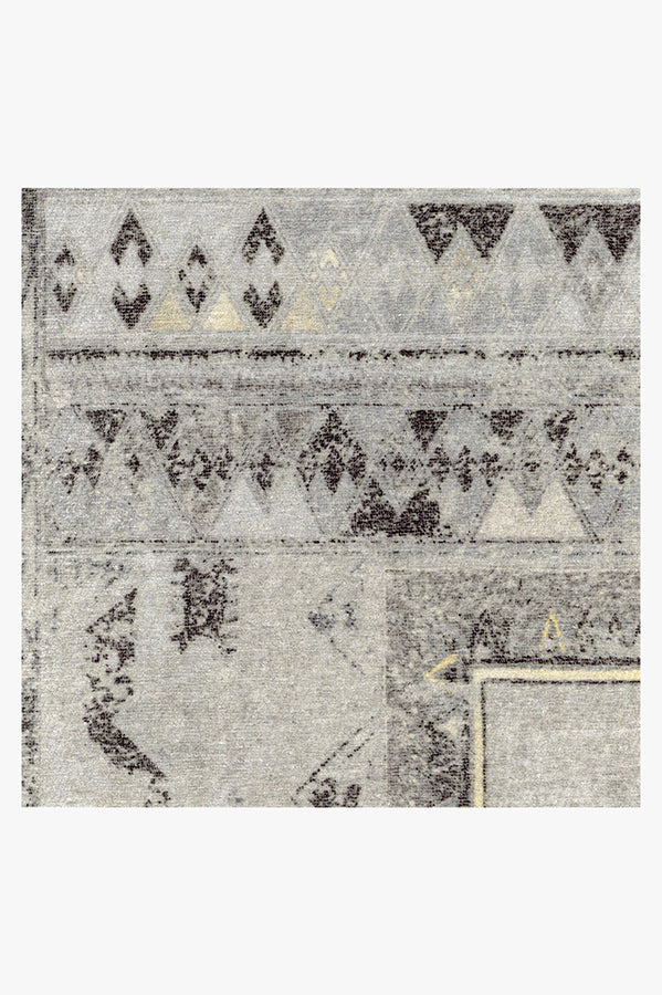 Machine Washable 2.5'x7' Lunja Border Yellow Grey Rug