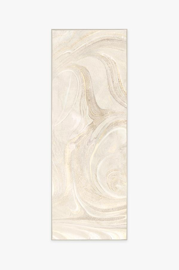 Machine Washable 2.5'x7' Marble Golden Ivory Rug