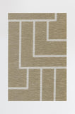 Machine Washable 2.5'x7' Modern Deco Gold Rug Rug