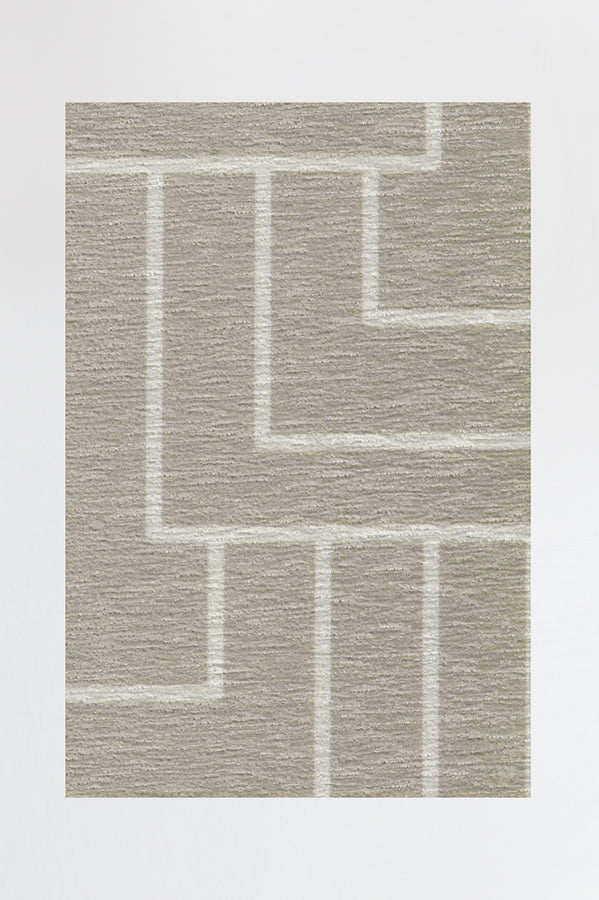 Machine Washable 2.5'x7' Modern Deco Neutral Rug