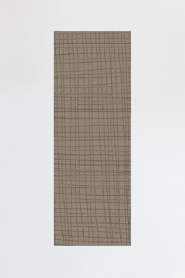Machine Washable 2.5'x7' Modern Grid Grey Taupe Rug