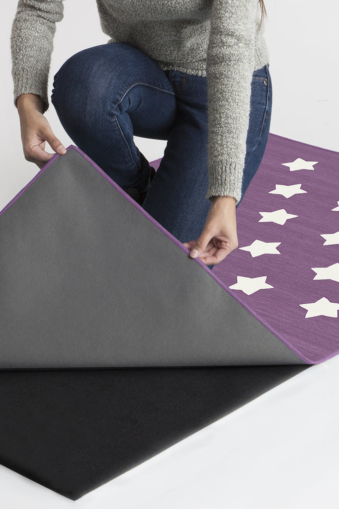 Machine Washable 5'x7' Polka Star Lavender Rug