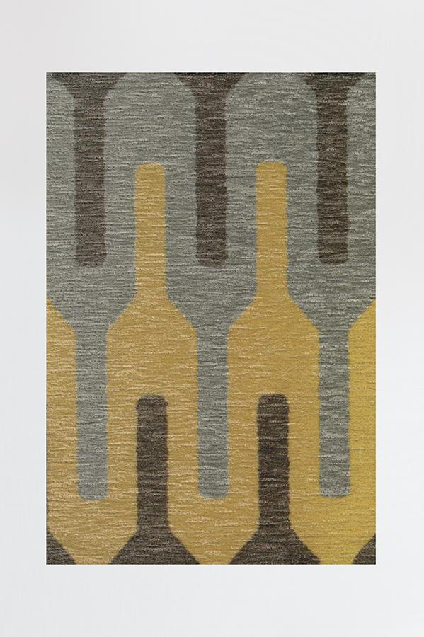 Machine Washable 2.5'x7' Retro Danish Grey Taupe Rug