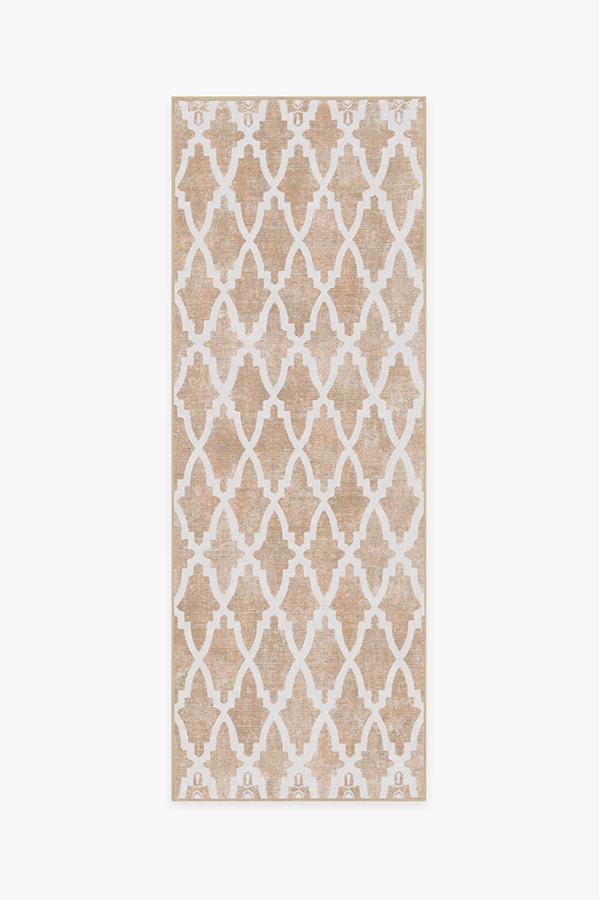 Machine Washable 2.5'x7' Soraya Trellis Rose Gold Rug