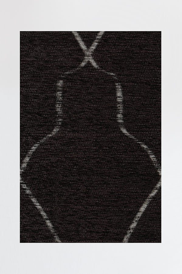 Machine Washable 2.5'x7' Tabriz Black Rug