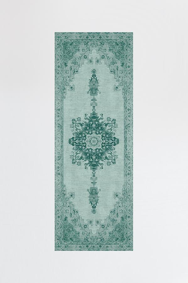 Machine Washable 2.5'x7' Victoria Teal Green Rug