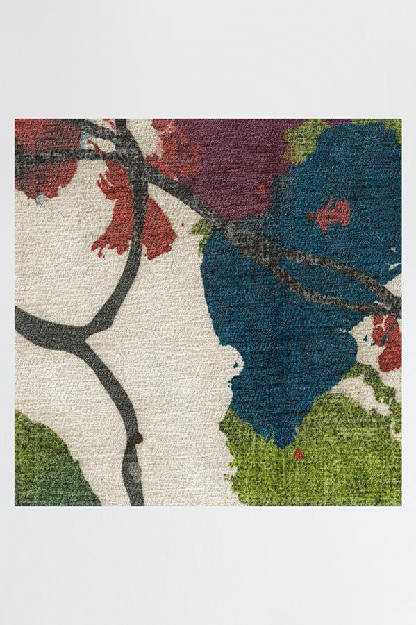 Machine Washable 2.5'x7' Watercolor Floral Multicolor Rug
