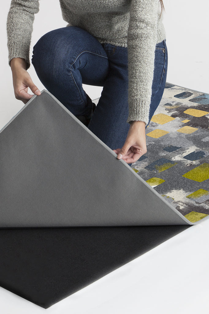 Machine Washable 2.5'x7' Watercolor Paintwork Grey Rug