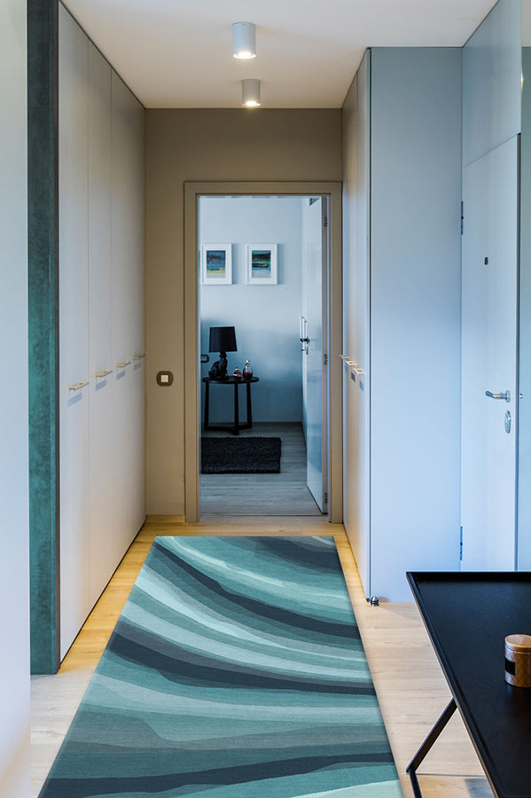 Washable Rug Cover & Pad | Watercolor Waves Blue Rug | Stain-Resistant | Ruggable | 2.5'x10' Product Image