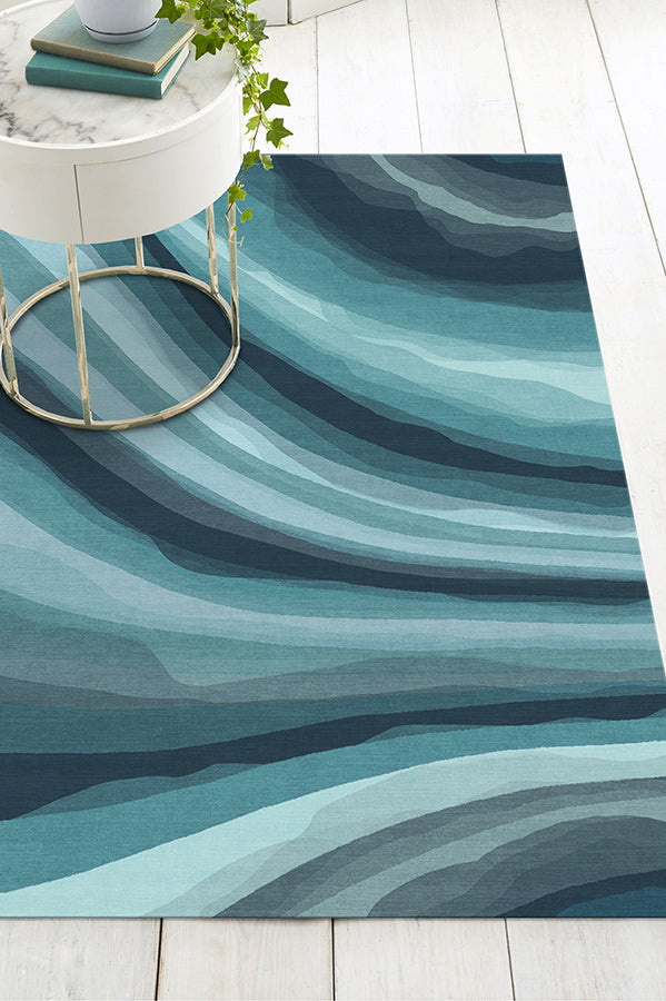 Machine Washable 5'x7' Watercolor Waves Blue Rug