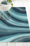 Machine Washable 5'x7' Watercolor Waves Blue Rug Rug