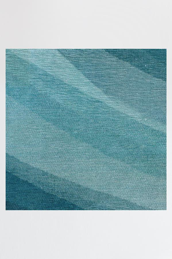 Machine Washable 2.5'x7' Watercolor Waves Blue Rug