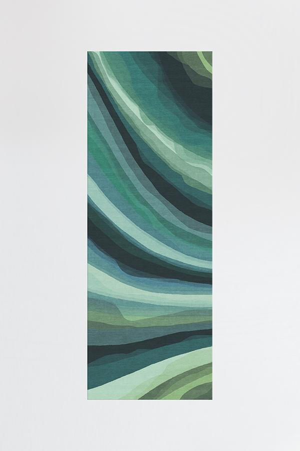 Machine Washable 2.5'x7' Watercolor Waves Citrus Green Rug