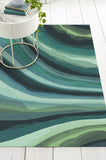 Machine Washable 5'x7' Watercolor Waves Citrus Green Rug Rug