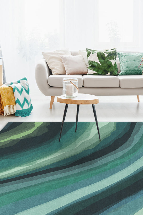 Machine Washable 8'x10' Watercolor Waves Citrus Green Rug