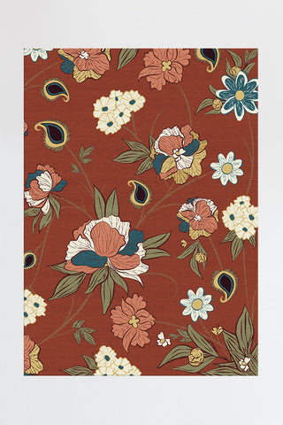 Poppy Floral Red Rug